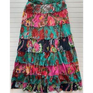 Vintage Handmade M/L Tiered Boho Floral Skirt